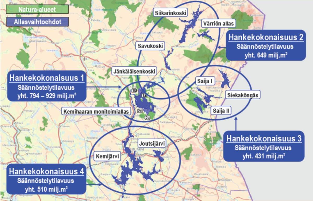 Kartta mahdollisista monitoimiallasalueista Kemijoen yläjuoksulla