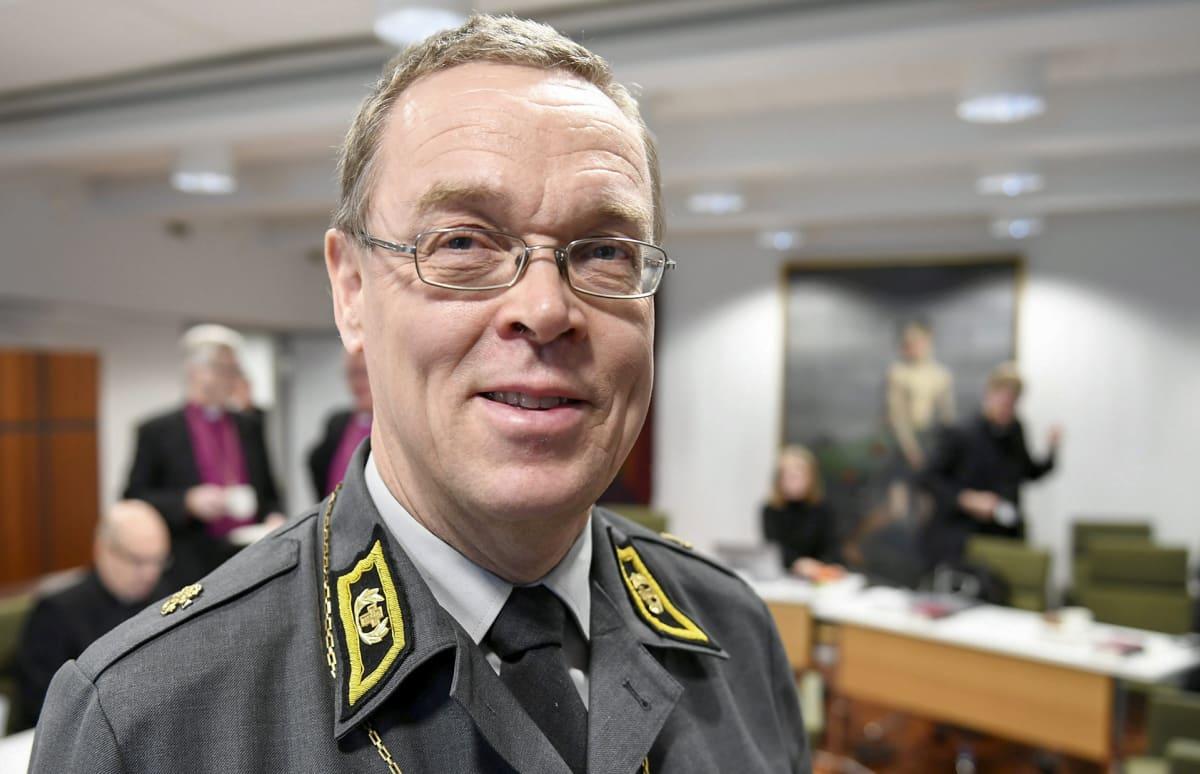 Kenttäpiispa Pekka Särkiö evankelis-luterilaisen kirkon piispainkokouksessa Helsingissä 5. joulukuuta 2018.