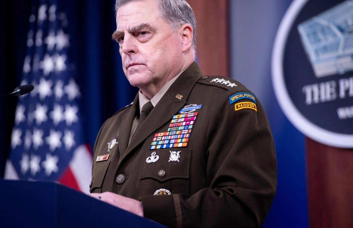 USA:s försvarschef Mark Milley, under en presskonferens om Afghanistan den 1 september.