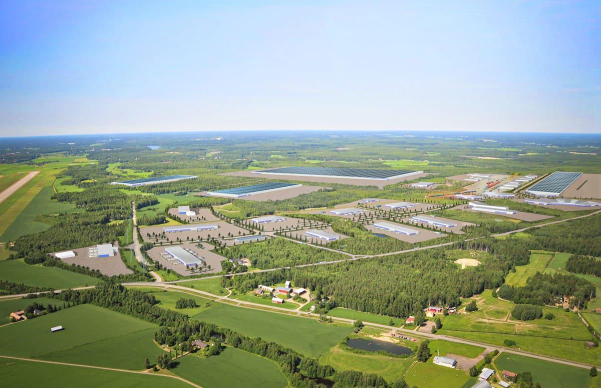 Havainnekuva GigaVaasa-alueesta. Vaasan kaupunki ja Johnson Matthey ovat allekirjoittaneet yhteisen aiesopimuksen. Brittiläinen akkuarvoketjutoimija on aloittanut alkuvaiheen suunnittelun tehtaan rakentamiseksi Vaasaan. Tehtaan on tarkoitus olla toiminnassa vuonna 2024 ja se sijoittuu GigaVaasa-alueelle.
