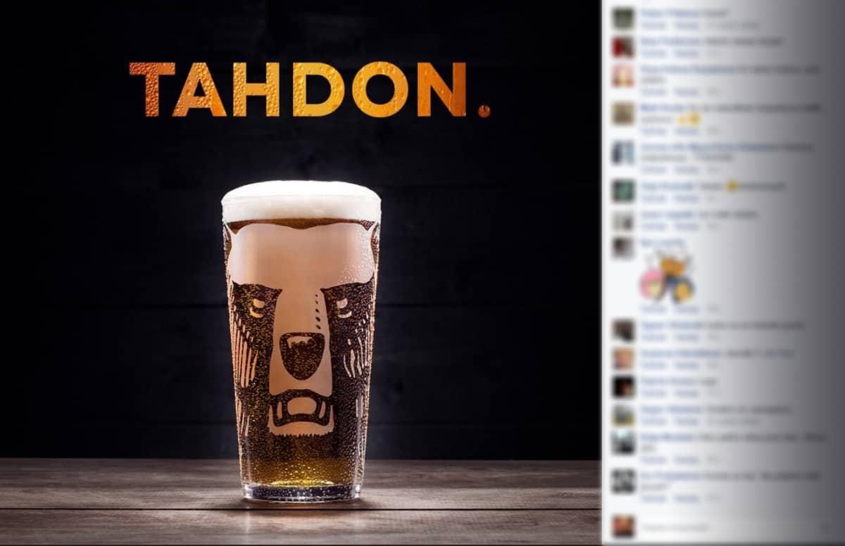 Karhu olutmainos Facebookissa.