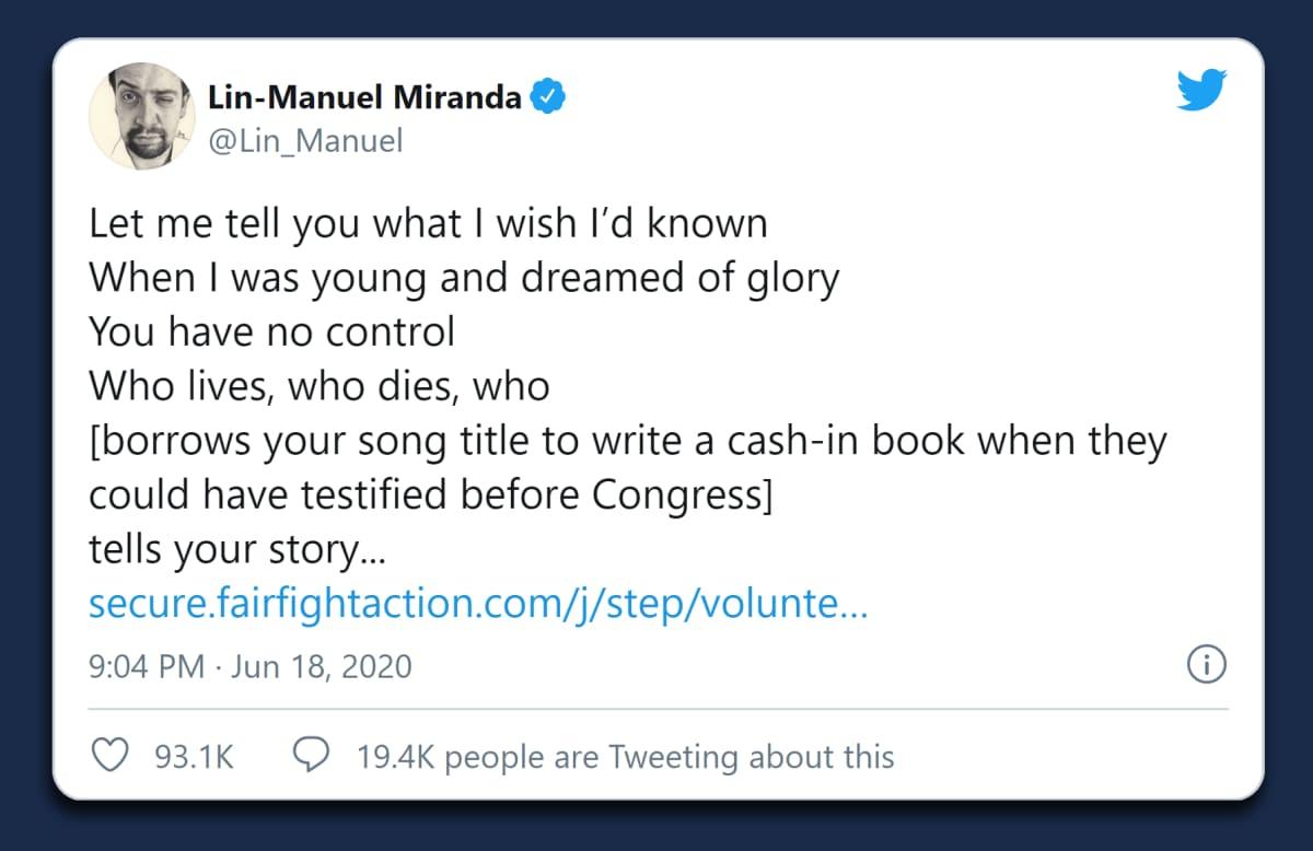 Lin-Manuel Mirandan twiitti, jossa hän kritisoi Boltonia Hamilton-lyriikoiden lainaamisesta sen sijaan että olisi todistanut Trumpia vastaan Yhdysvaltain kongressissa.