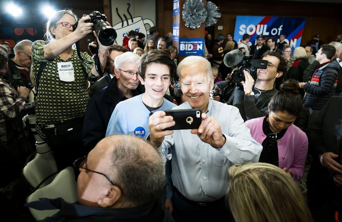 Joe Biden kampanjoimassa Hamptonissa 9. helmikuuta.