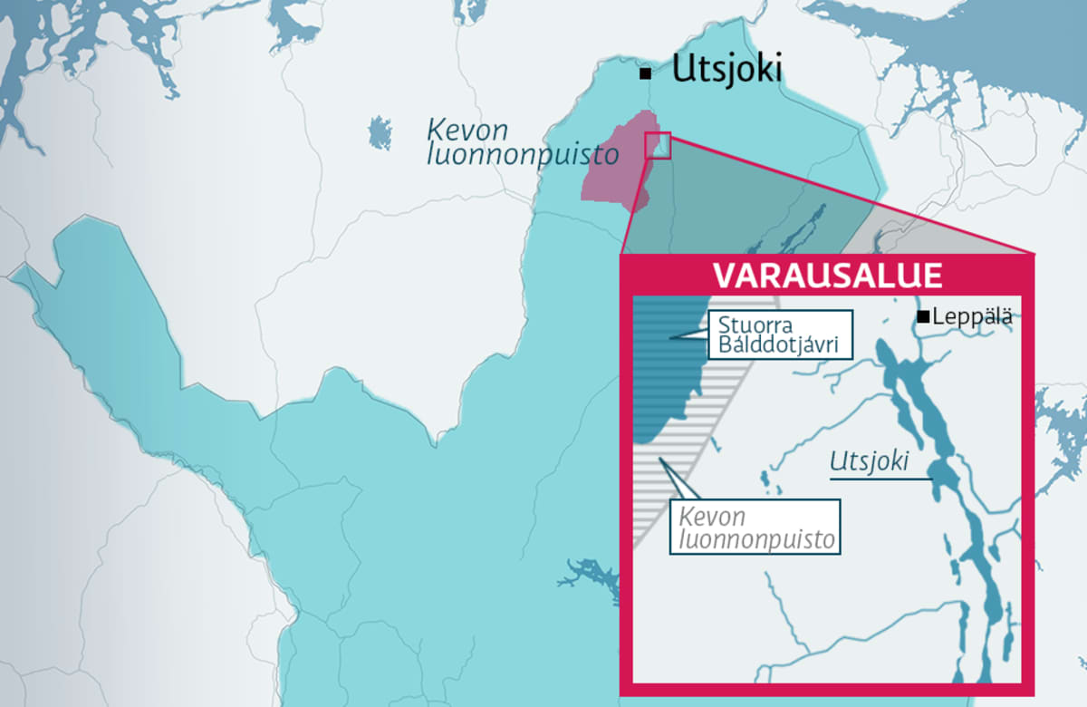 Kartta Utsjoen varausalueesta.