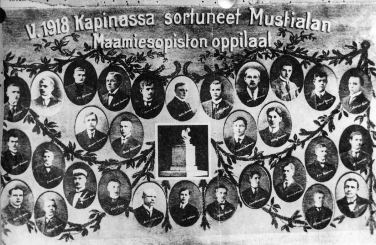 Kuvassa miesten muotokuvia ja teksti v. 1918 kapinassa sortuneet Mustialan maamiesopiston oppilaat