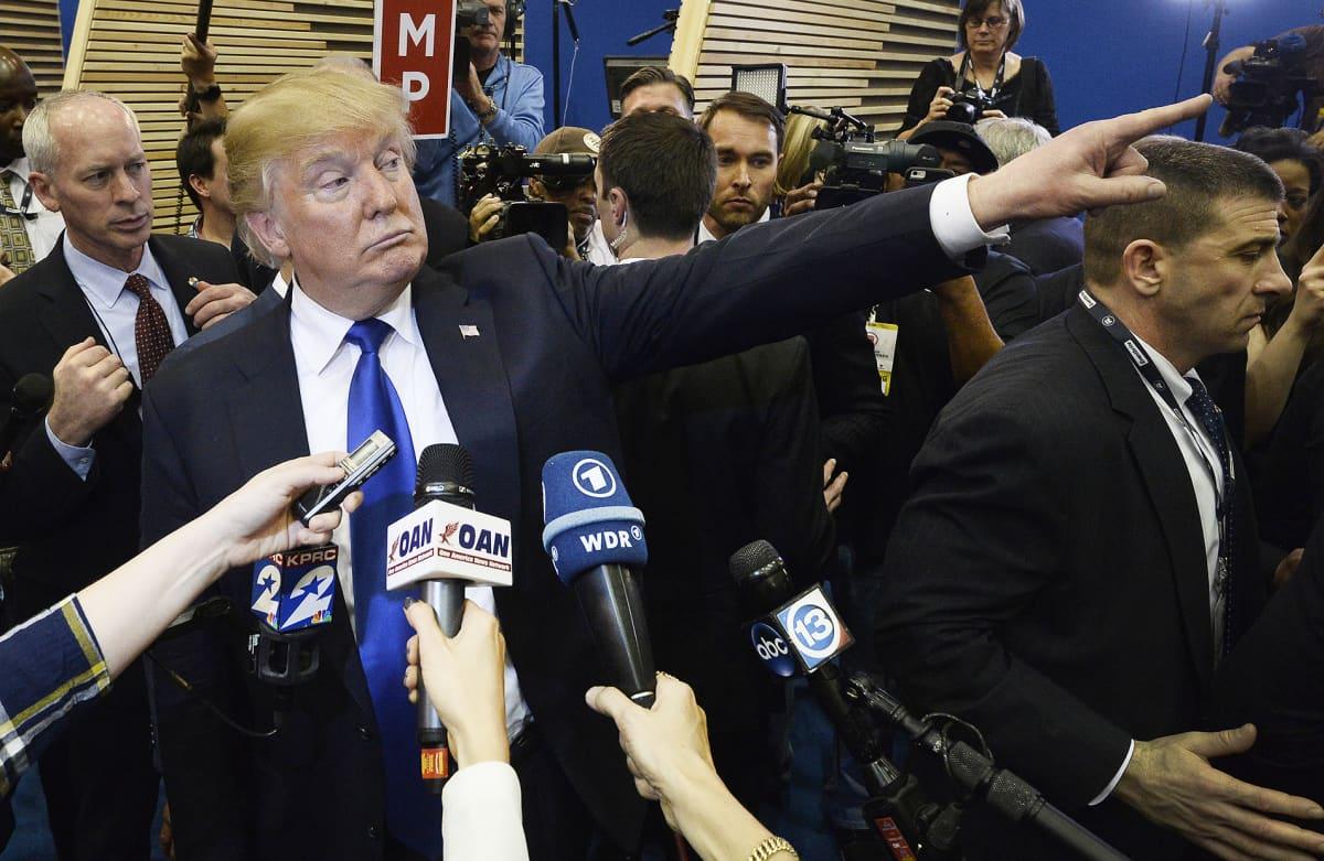Trump presidenttiehdokkaiden vaaliväittelyssä Houstonissa, Texasissa, helmikuussa 2016.