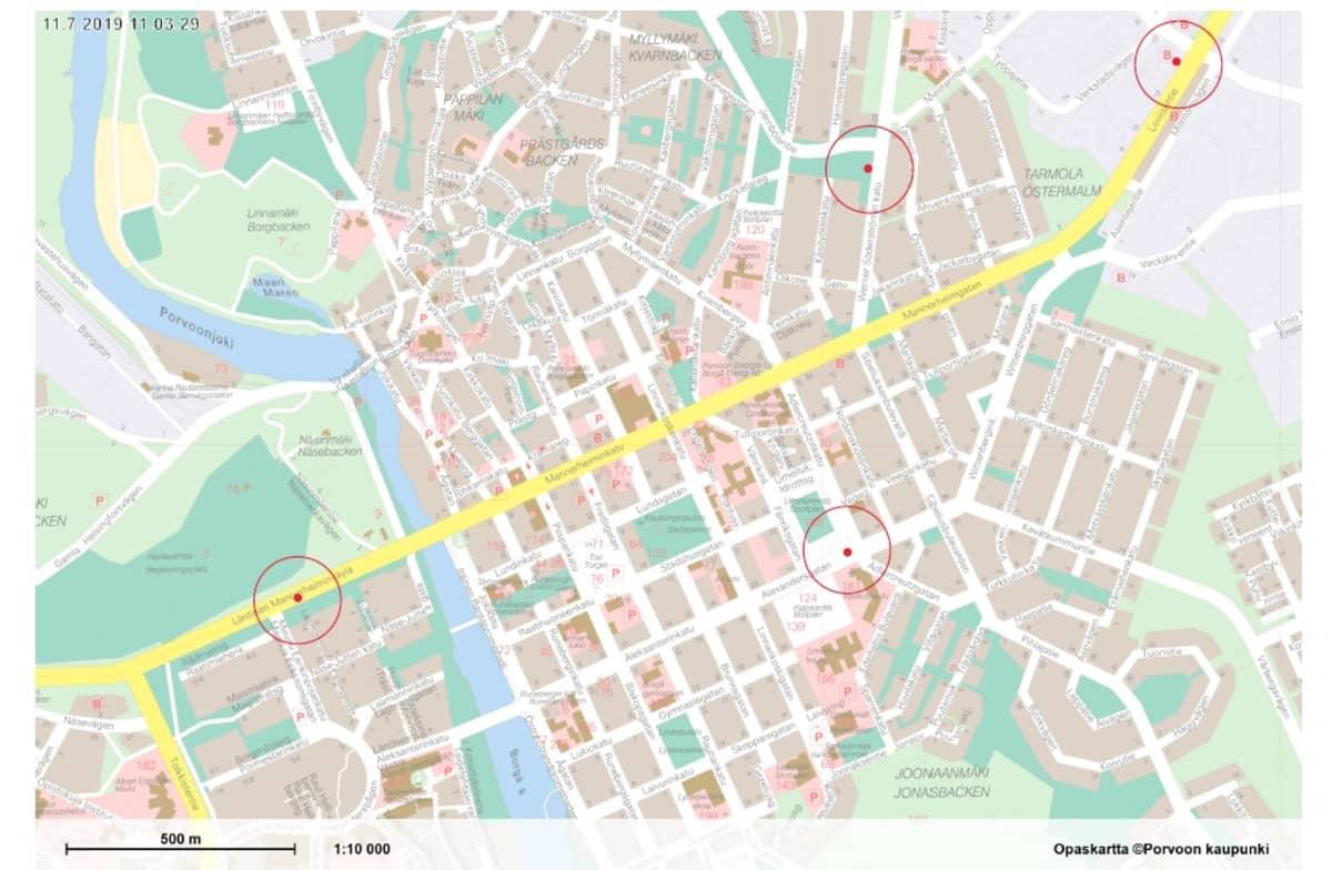 Kartta, johon nopeusvalvontakamerat Porvoossa tulevat