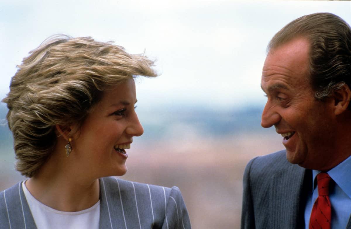 Prinsessa Diana ja kuningas Carlos Espanjassa huhtikuussa 1987.