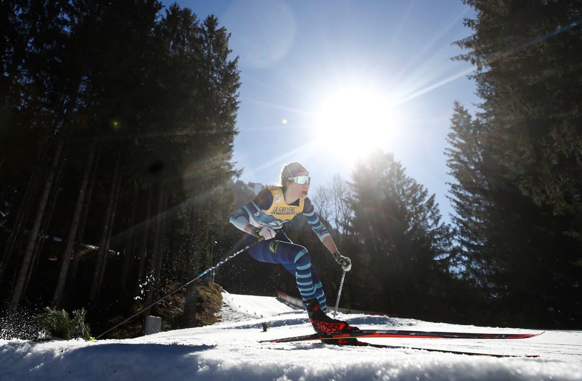 Laura Mononen Oberstdorfin MM-kisoissa.