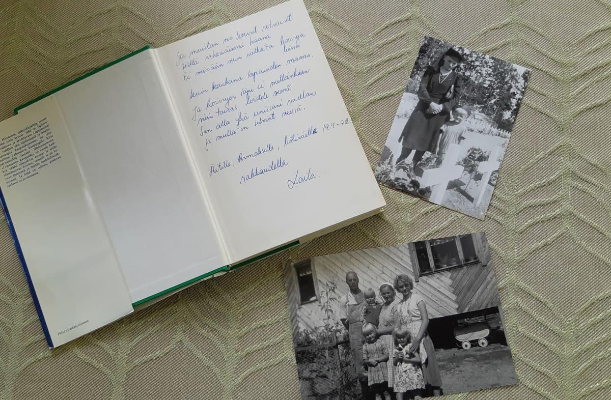 Laila Hirvisaaren teos Lehmusten kaupunki ja kuvia lapsuudesta.