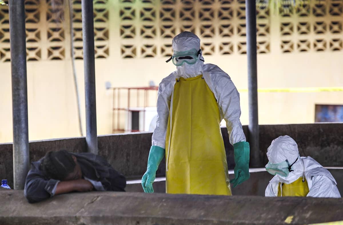 Terveydenhoitoalan työntekijät ovat noutamassa Ebolaan menehtynyttä.