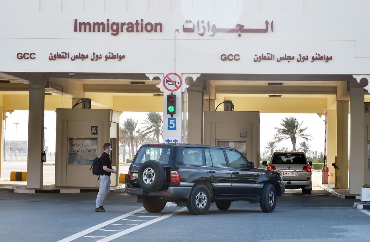 Saudi-Arabian ja Qatarin välinen rajatarkastuspiste.
