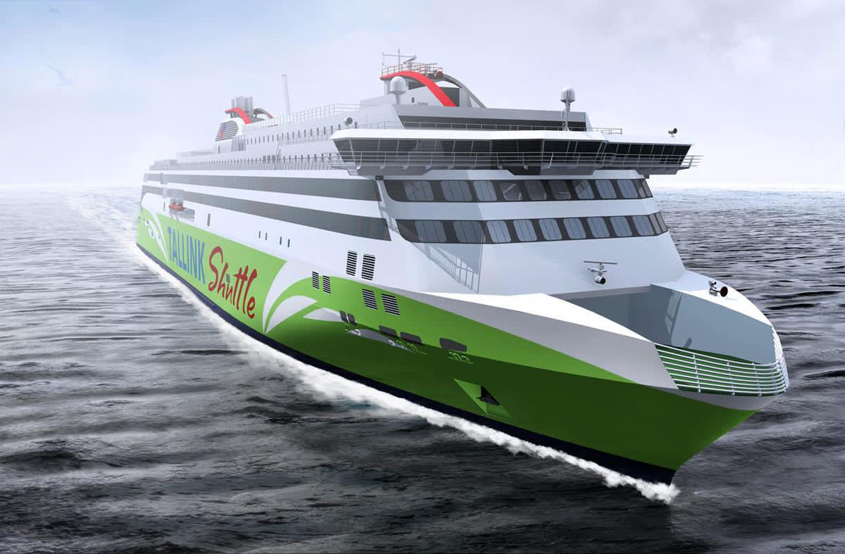 Havainnekuvassa Tallink Megastar -matkustajalautta.