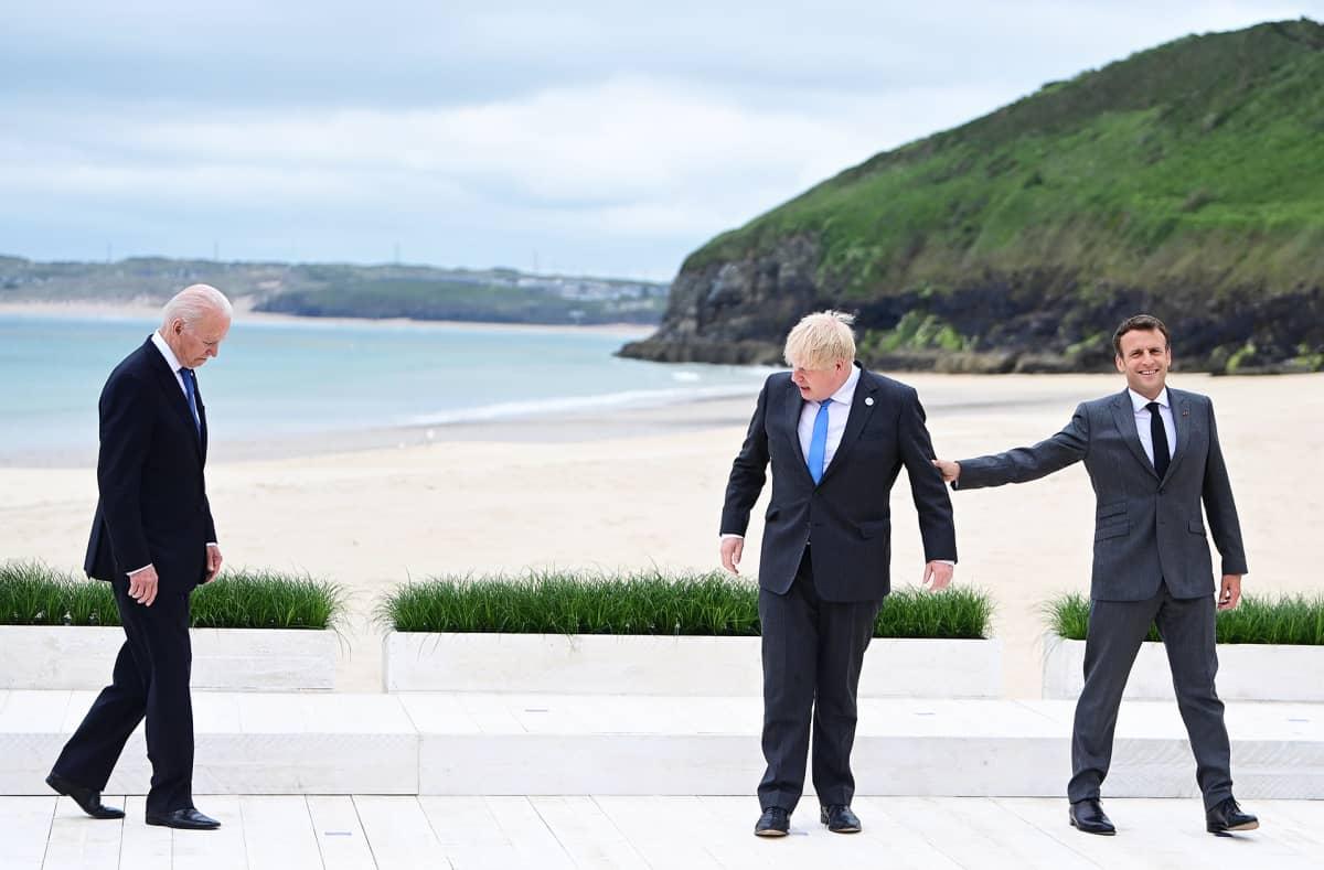 Joe Biden, Boris Johnson ja Emmanuel Macron