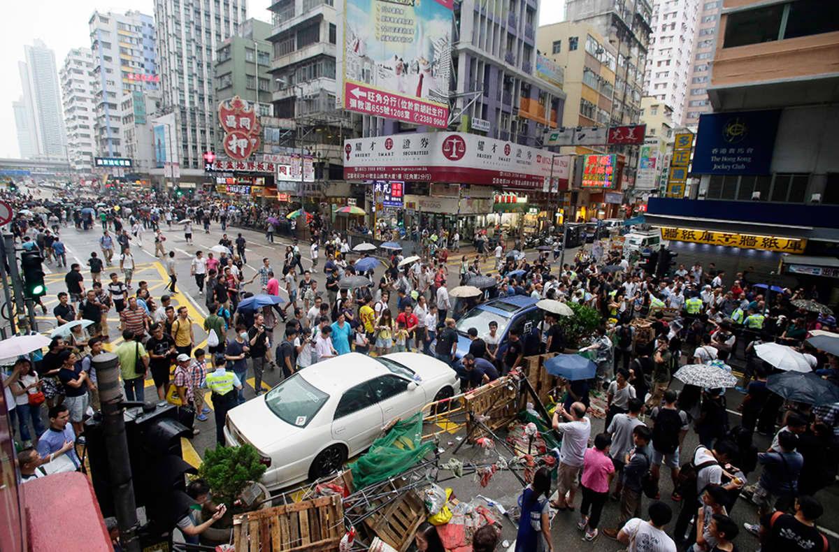 Näkymä Mongkokin kaduilta 4. lokakuuta 2014.