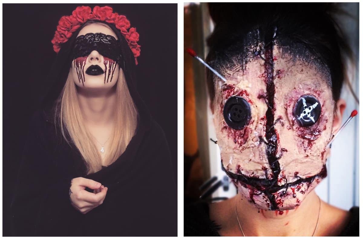 Kammottaviin maskeihin voi käyttää kekseliäästi kotoa löytyviä asioita, kuten nappeja ja vanupuikkoja.