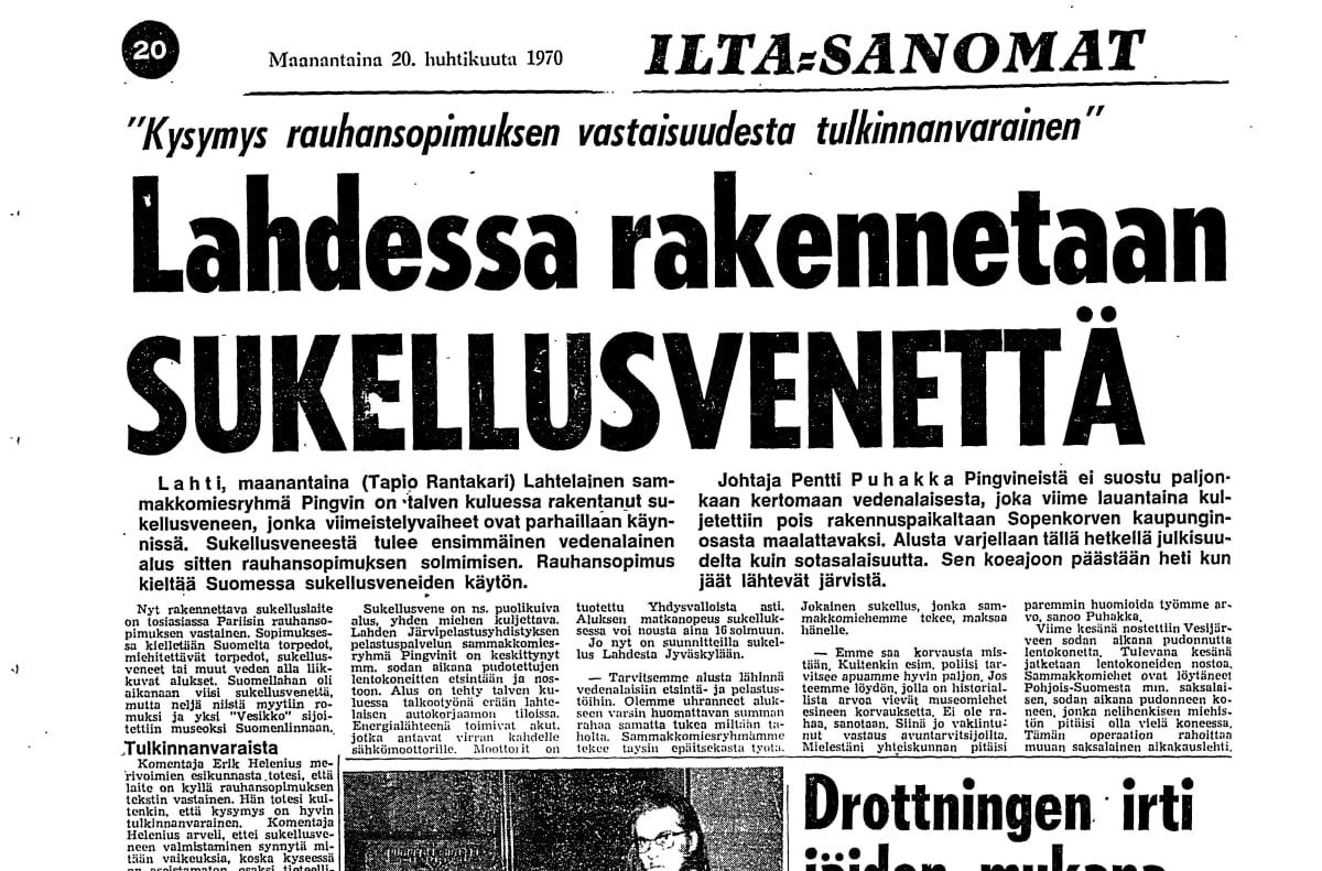 Skannattu Ilta-Sanomien artikkeli lahtelaisesta sukellusveneestä 20. huhtikuuta 1970.