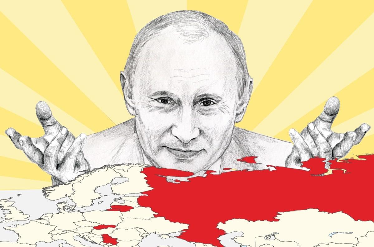 Piirroskuva, jossa Putin katsoo Euroopan ja Venäjän karttaa