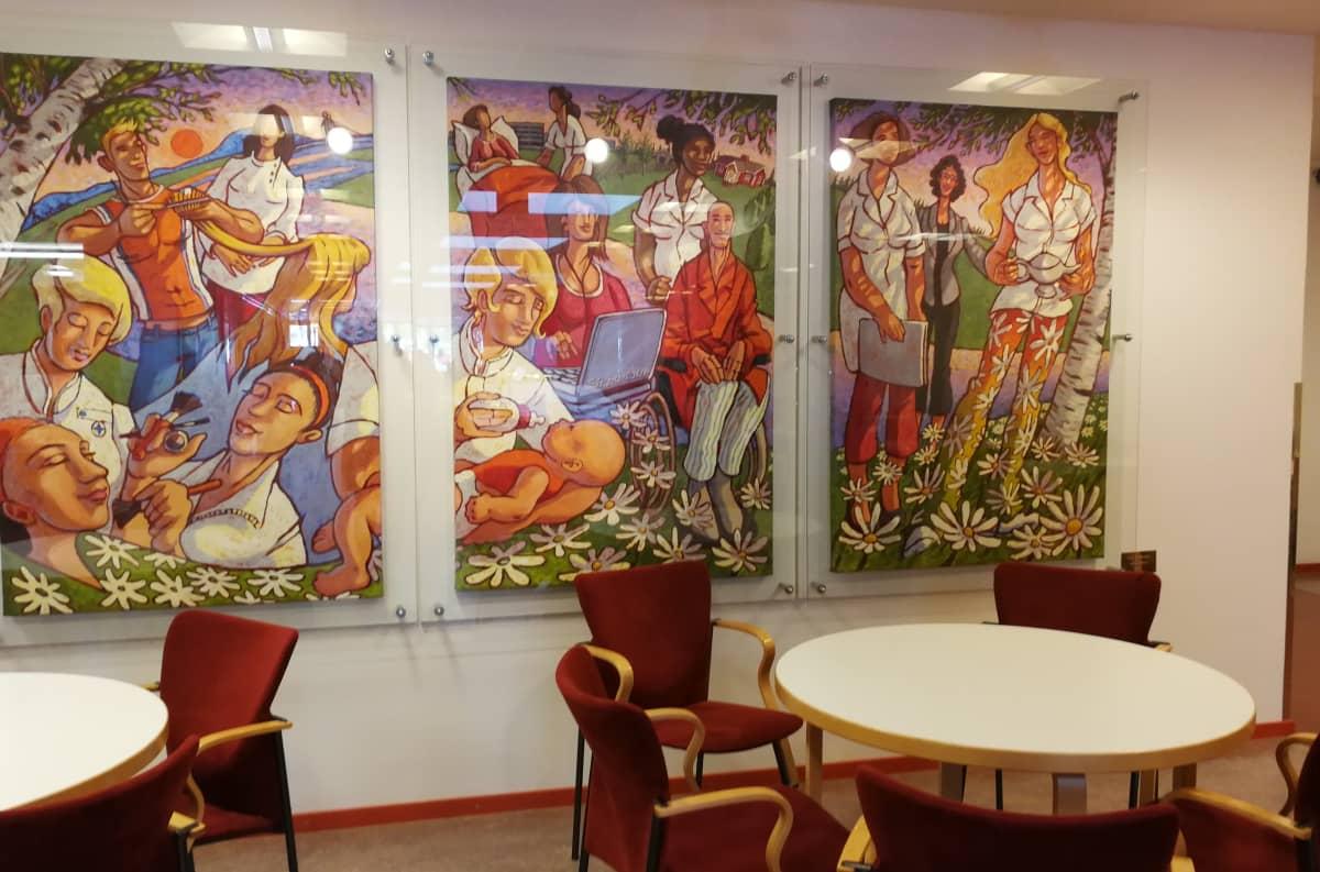 Ounasvaaran lukio Lapin koulutuskeskus REDU Ounasvaaran kampus, taideteos Sirpa Alalääkkölän