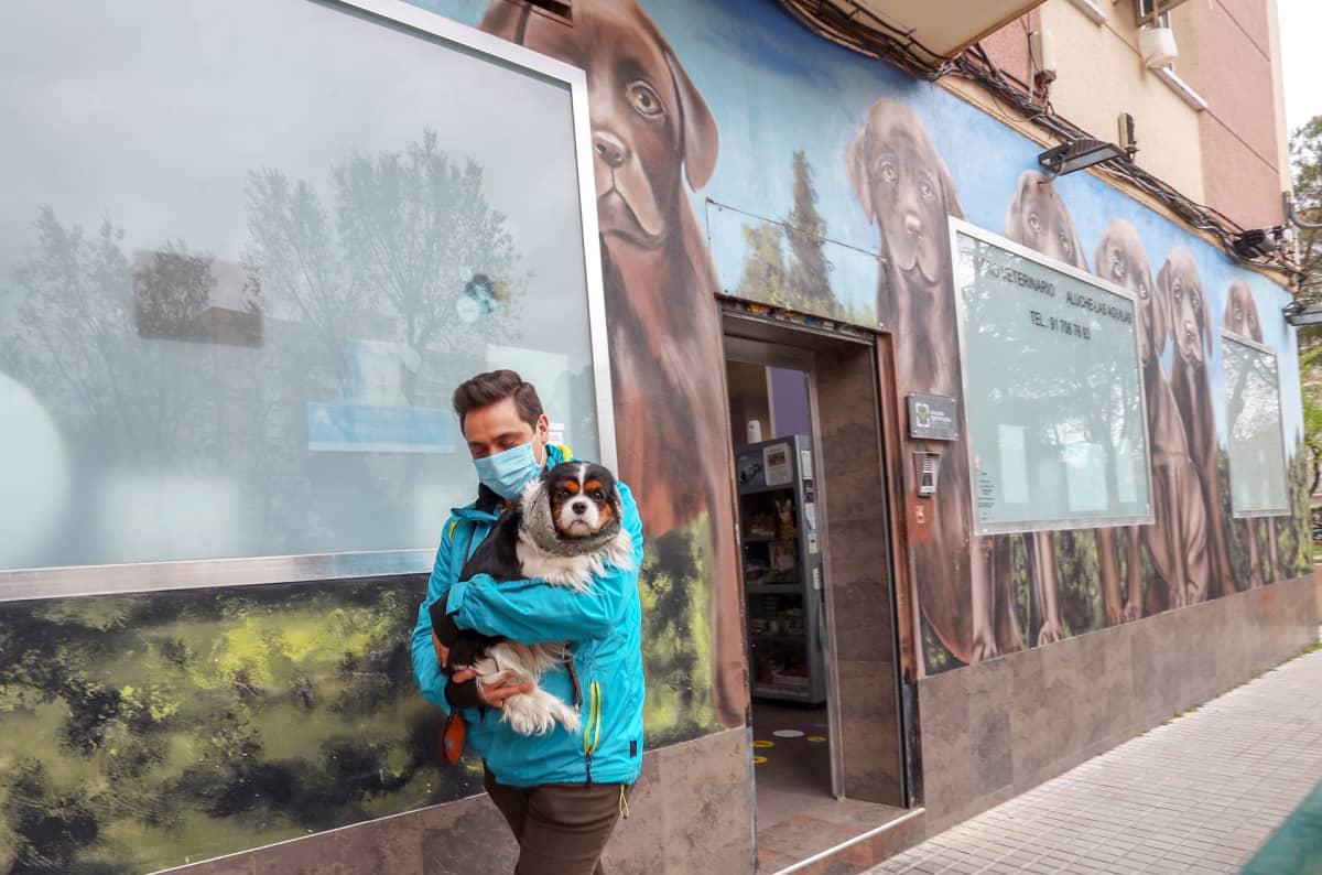 Mies kantaa koiraa.