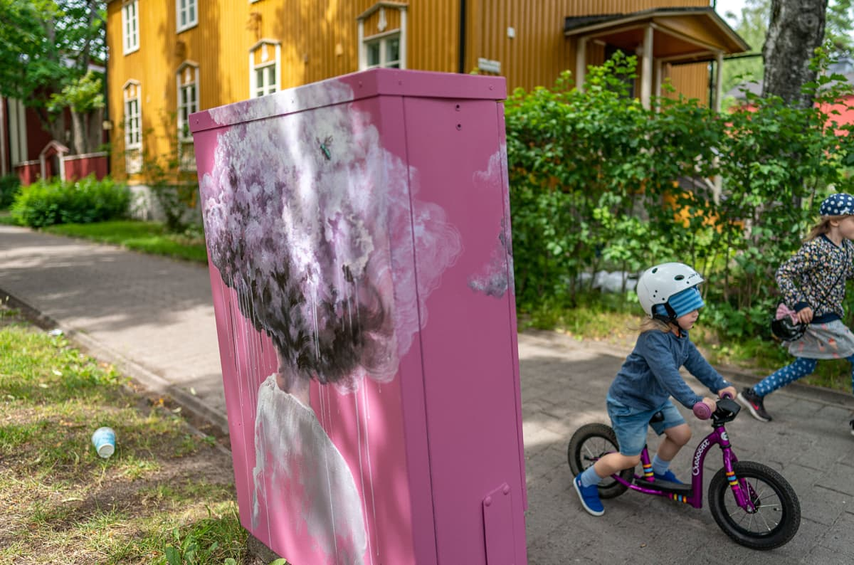 Kalevala-aiheinen sähkökaappi Käpylässä.