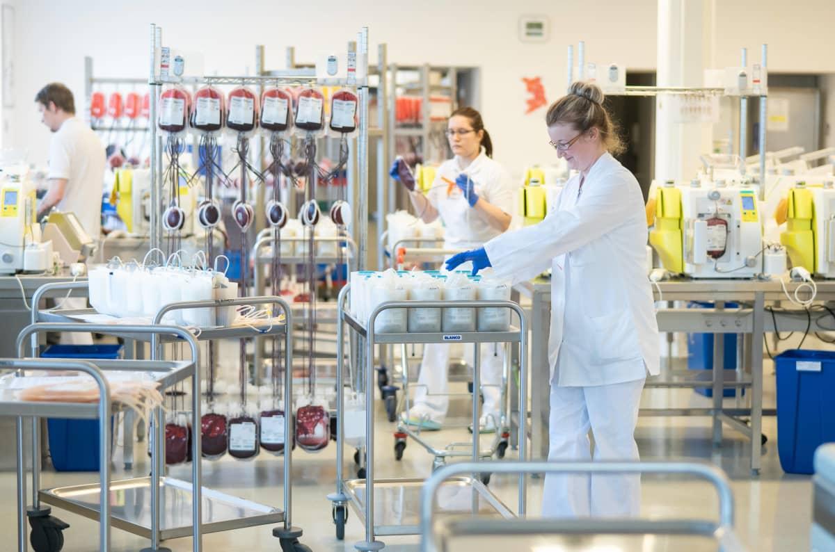 Työntekijä valmistelee veripankkia Dresdenissä Saksassa 17. maaliskuuta 2020.