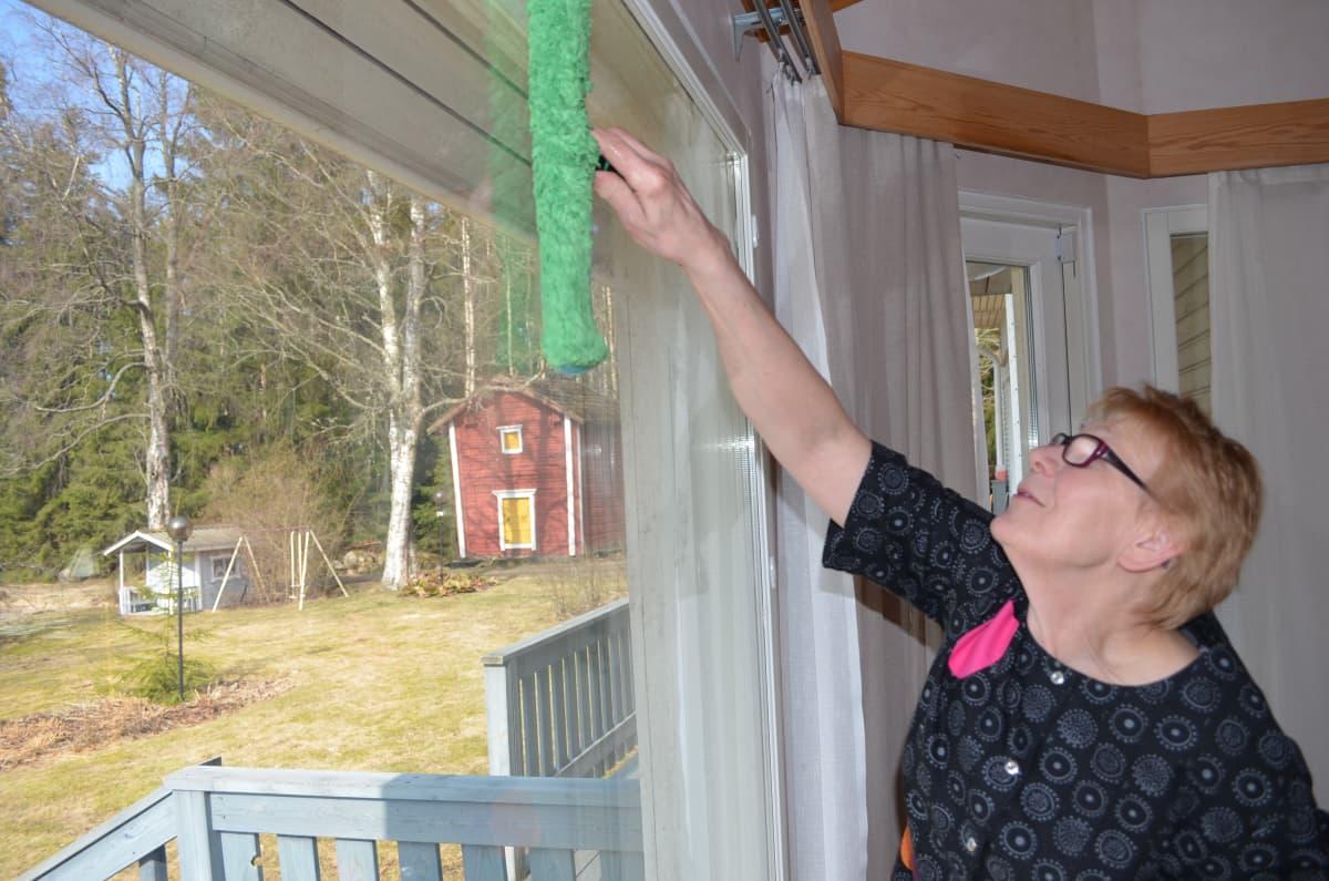 Pesimellä ikkunaan saa vettä sopivan määrän.
