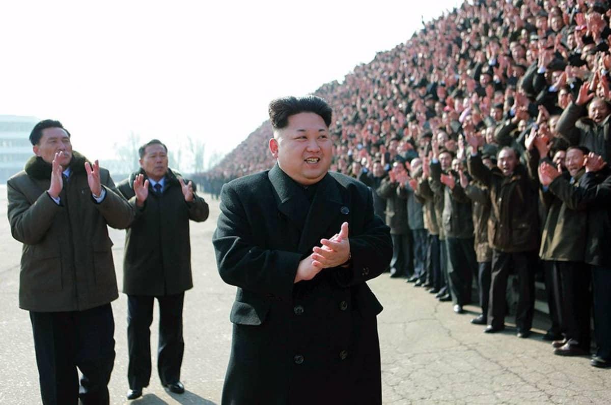 Pohjois-Korean johtaja Kim Jong-Un 13. helmikuuta Pjongjangiss.
