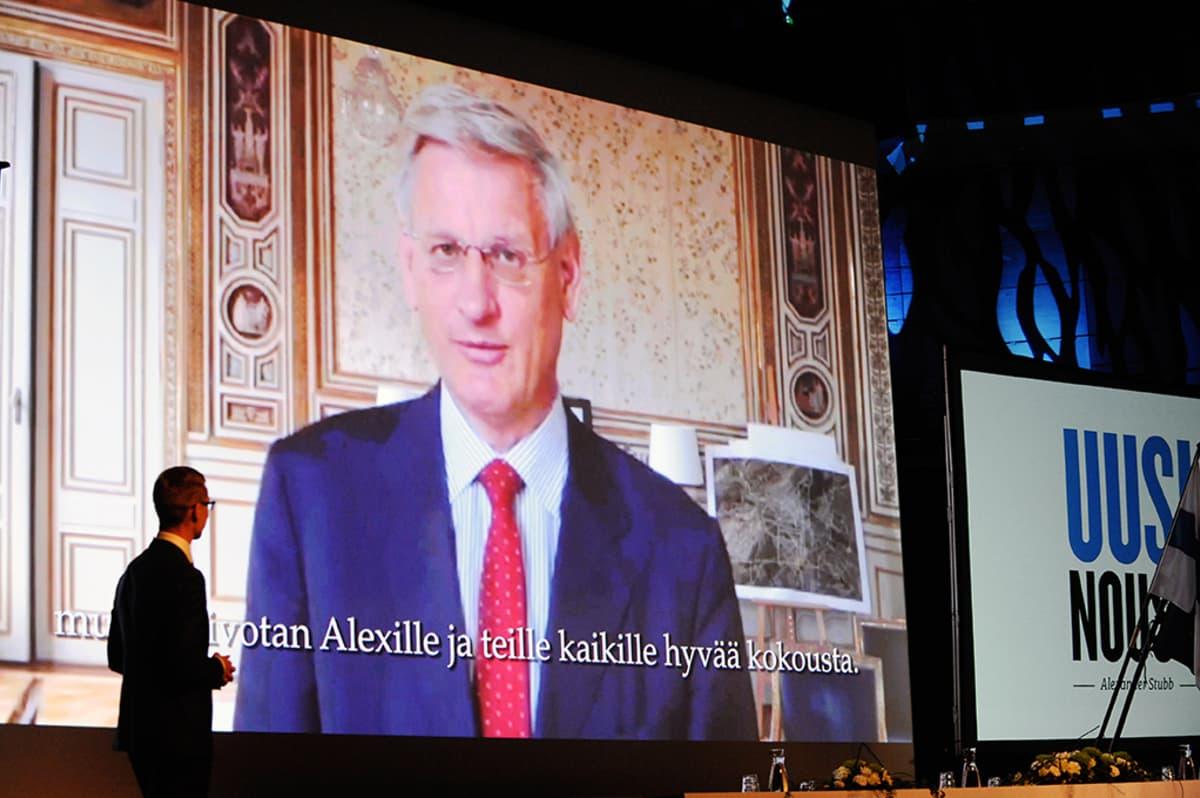 Carl Bildt onnittelee Alexander Stubbia videoyhteyden välityksellä.