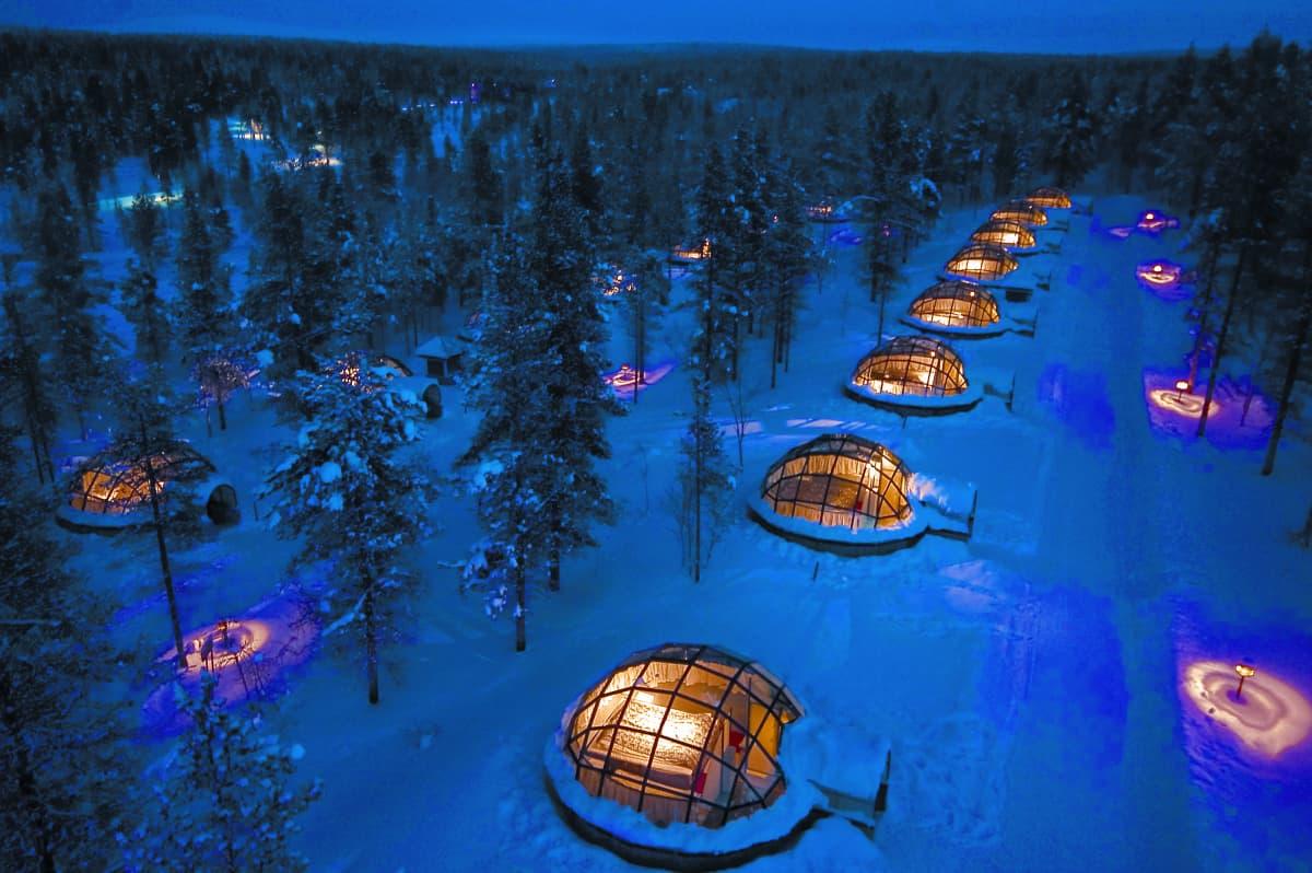 Kakslauttasen lasi-iglut, Saariselkä, Sodankylä,Lappi