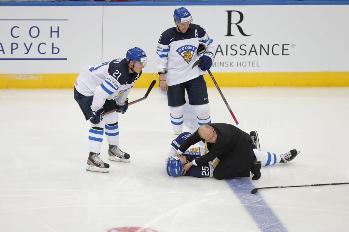 Pekka Jormakka koki kovia Venäjä-ottelussa.