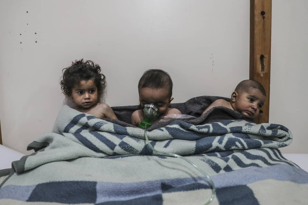 Lapset saivat hoitoa epäillyn kaasuiskun jälkeen Itä-Ghoutassa helmikuun lopulla.