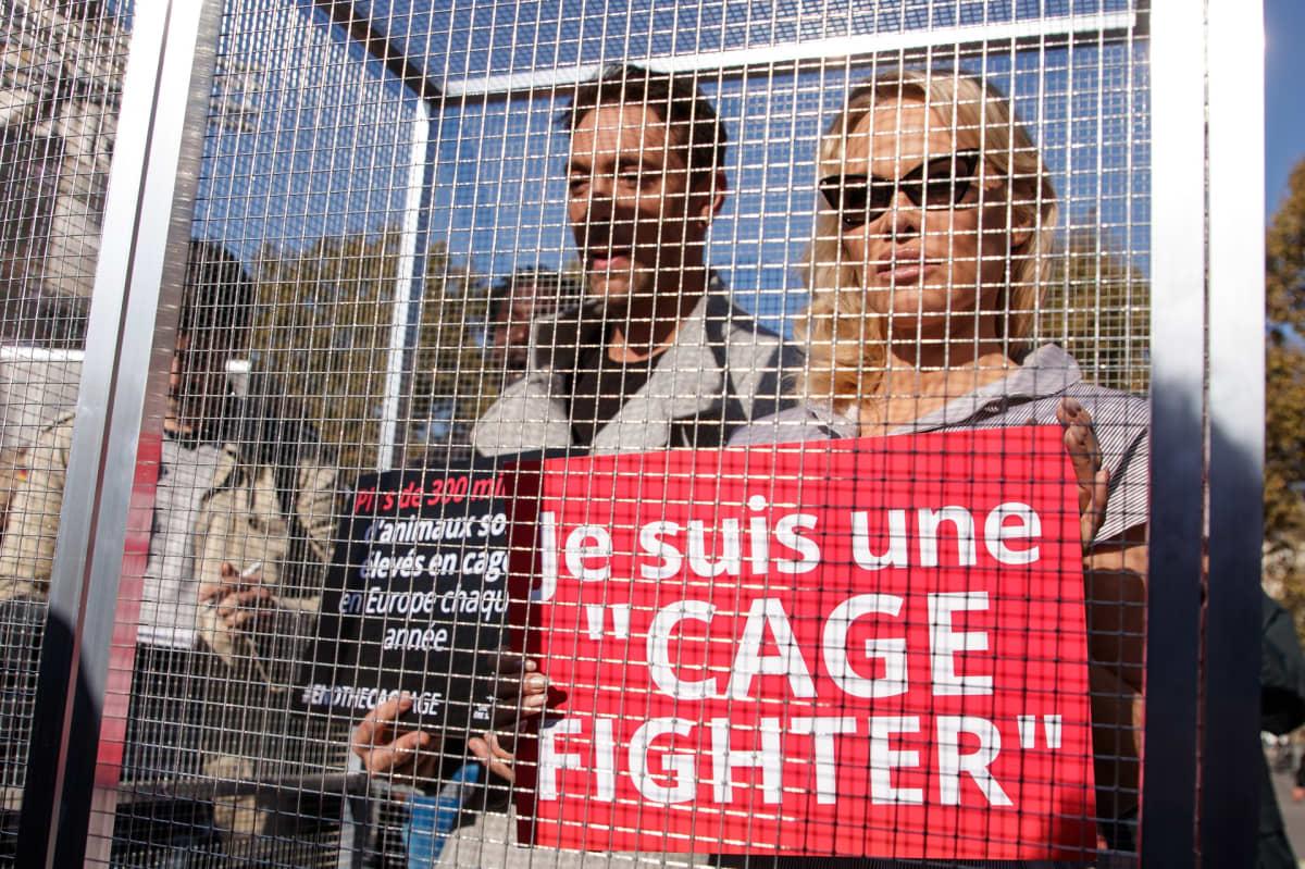 Pamela Anderson ja ranskalainen tanssija Maxime Dereymez seisovat häkissä.