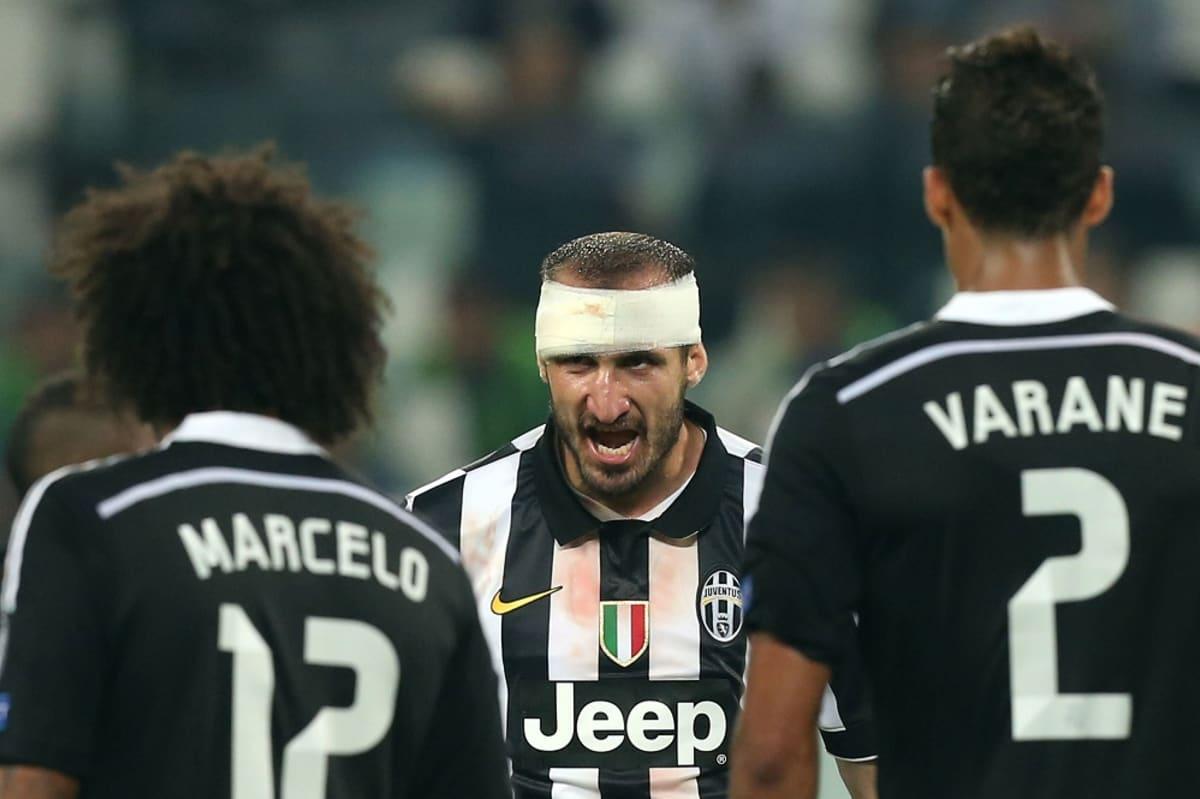 Juventuksen Giorgio Chiellini ottelussa Real Madridia vastaan.