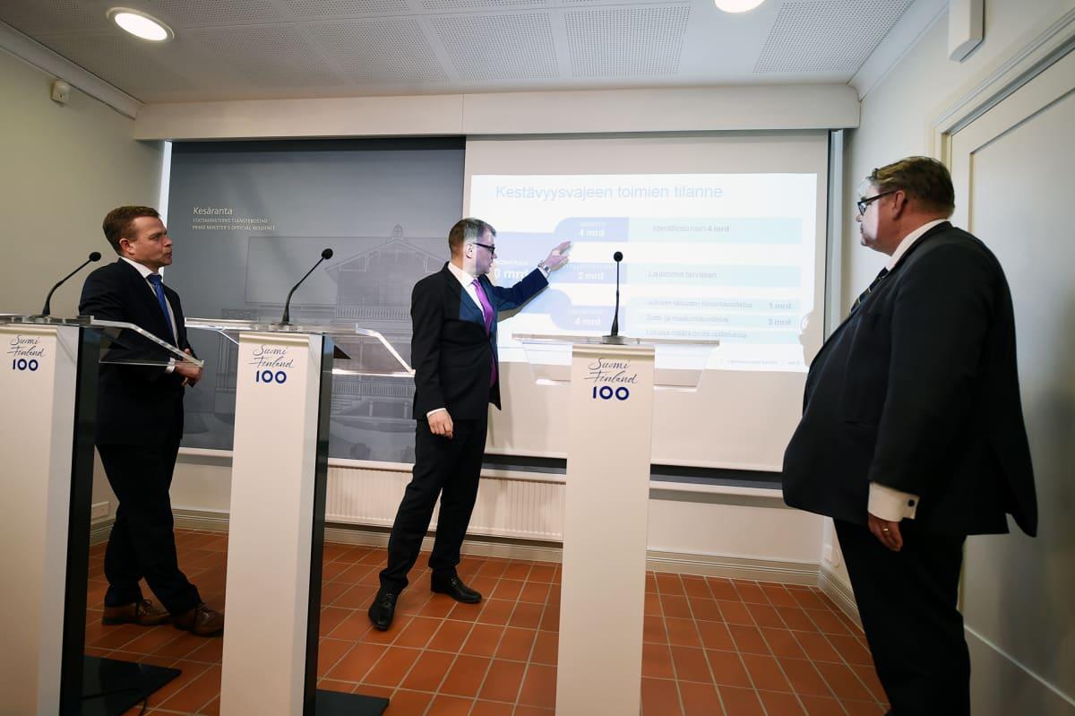 Petteri Orpo, Juha Sipilä ja Timo Soini  tiedotustilaisuudessa Kesärannassa.