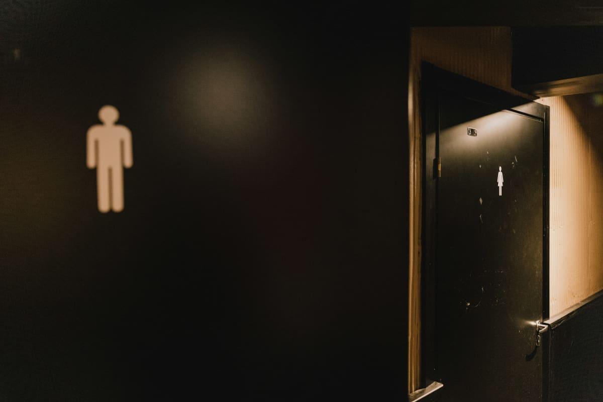Miesten ja naisten vessat.