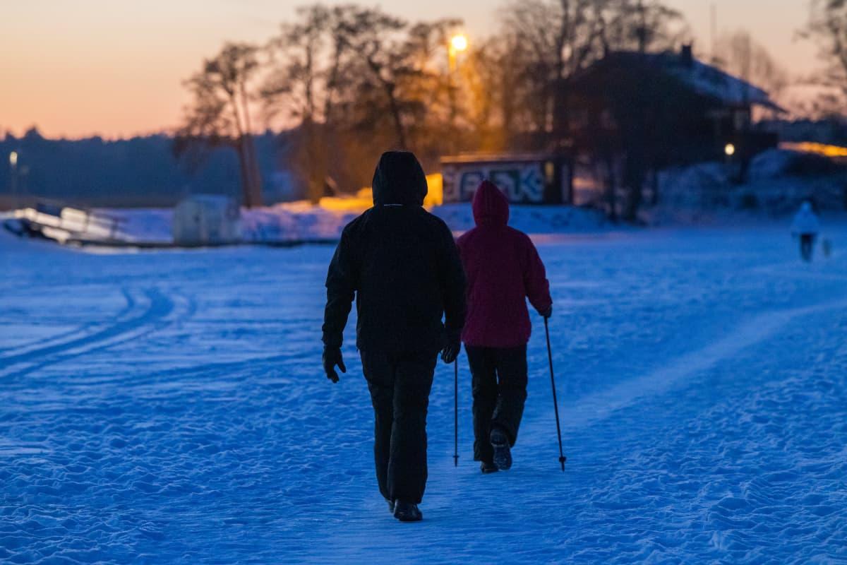 Pariskunta kävelyllä talvi-iltana meren jäällä.