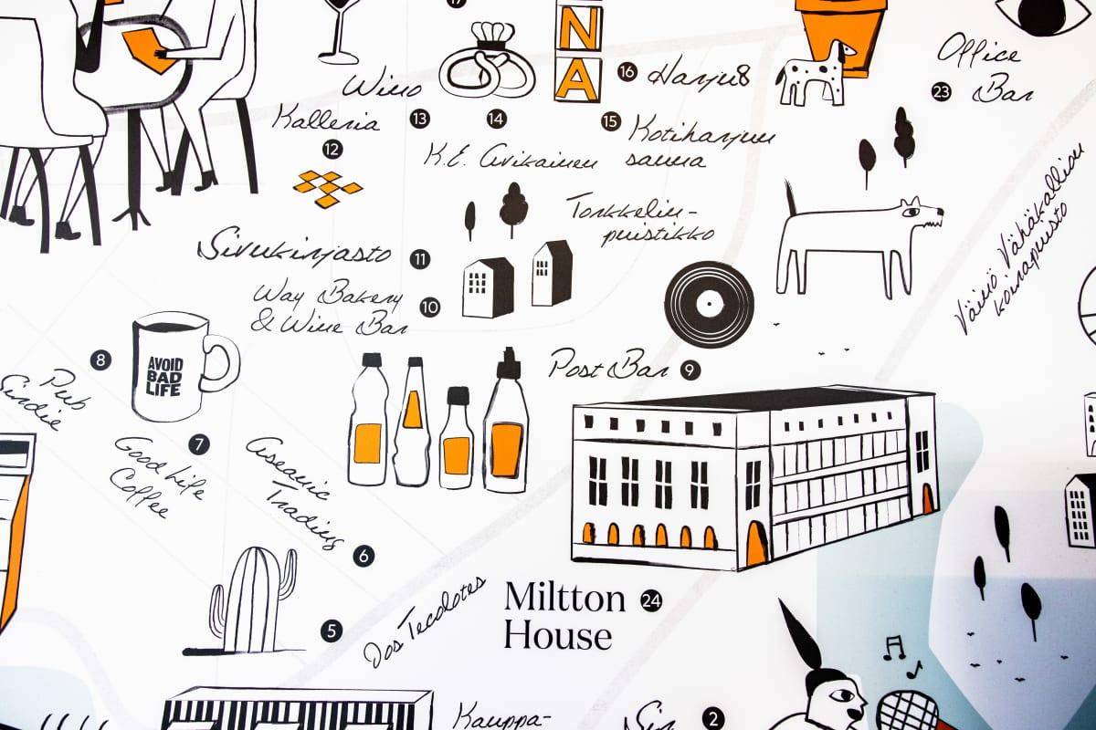 Kallion kartta Milttonin seinällä jossa näkyy myös Milttonin toimitilojen sijainti.