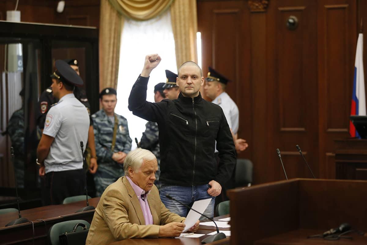Oppositiojohtaja Sergei Udaltsovin oikeudenkäynti pidettiin Moskovassa 24. heinäkuuta 2014.