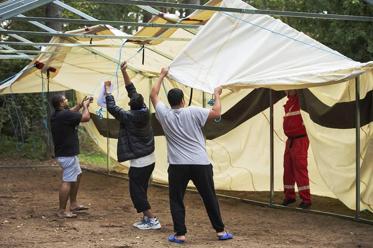 SPR:n Turun Pansion  vastaanottokeskuksen pihalle pystytettiin telttoja  yhdessä turvapaikanhakijoiden, keskuksen työntekijöiden ja vapaaehtoisten voimin 1. syyskuuta.