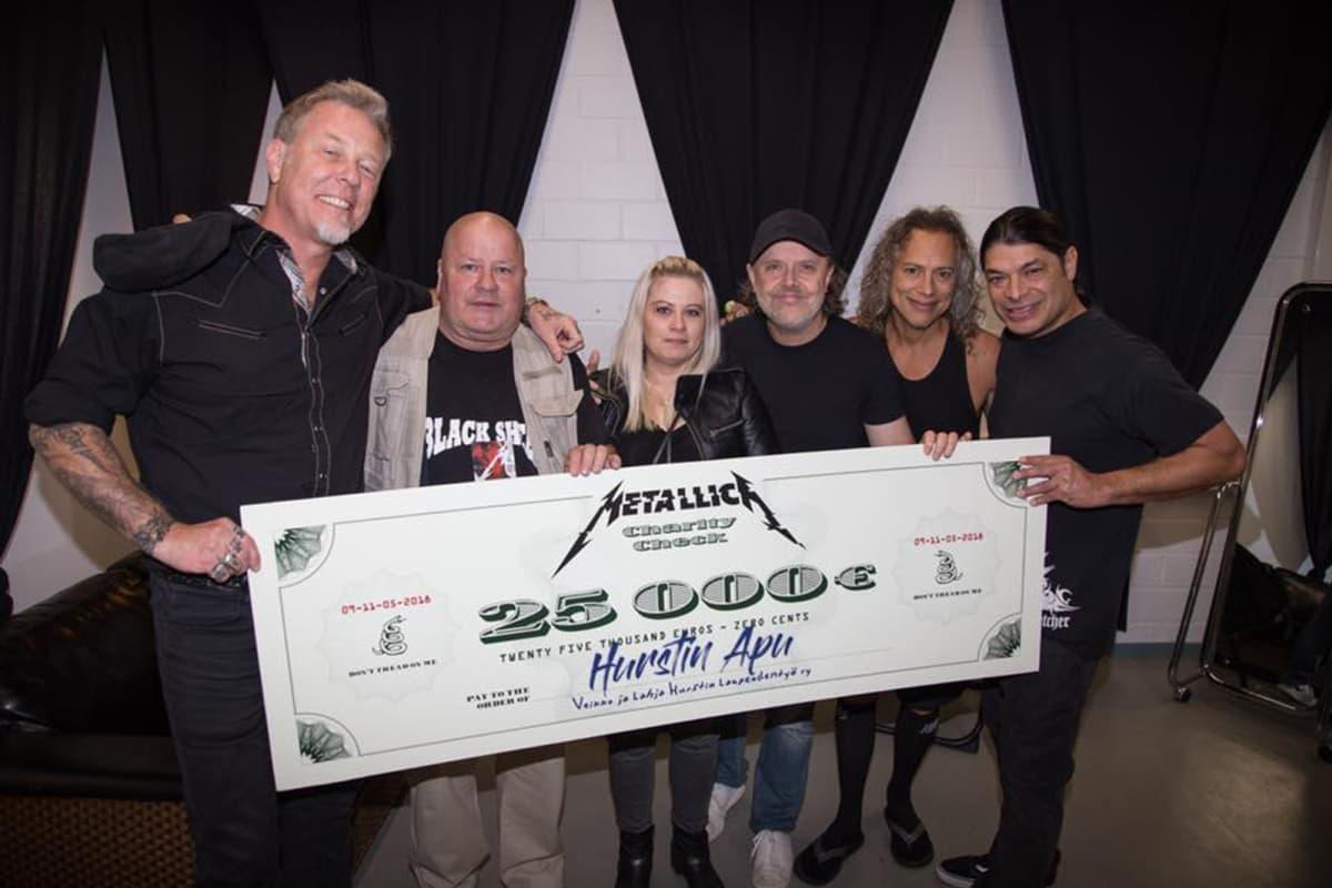 Metallica lahjoitti 25000 euroa Hursin avulle.