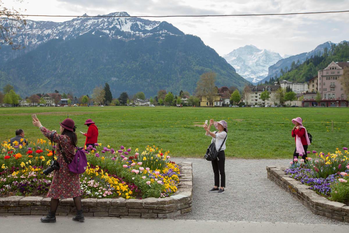 Ihmiset ottavat kuvia alppimaisemassa.