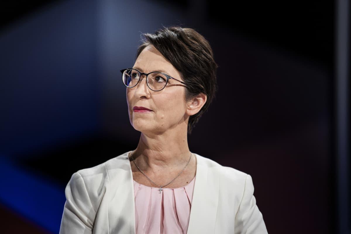 Kristillisdemokraattien puheenjohtaja Sari Essayah osallistui Pasilassa Ylen kuntavaalitenttiin 19. toukokuuta.