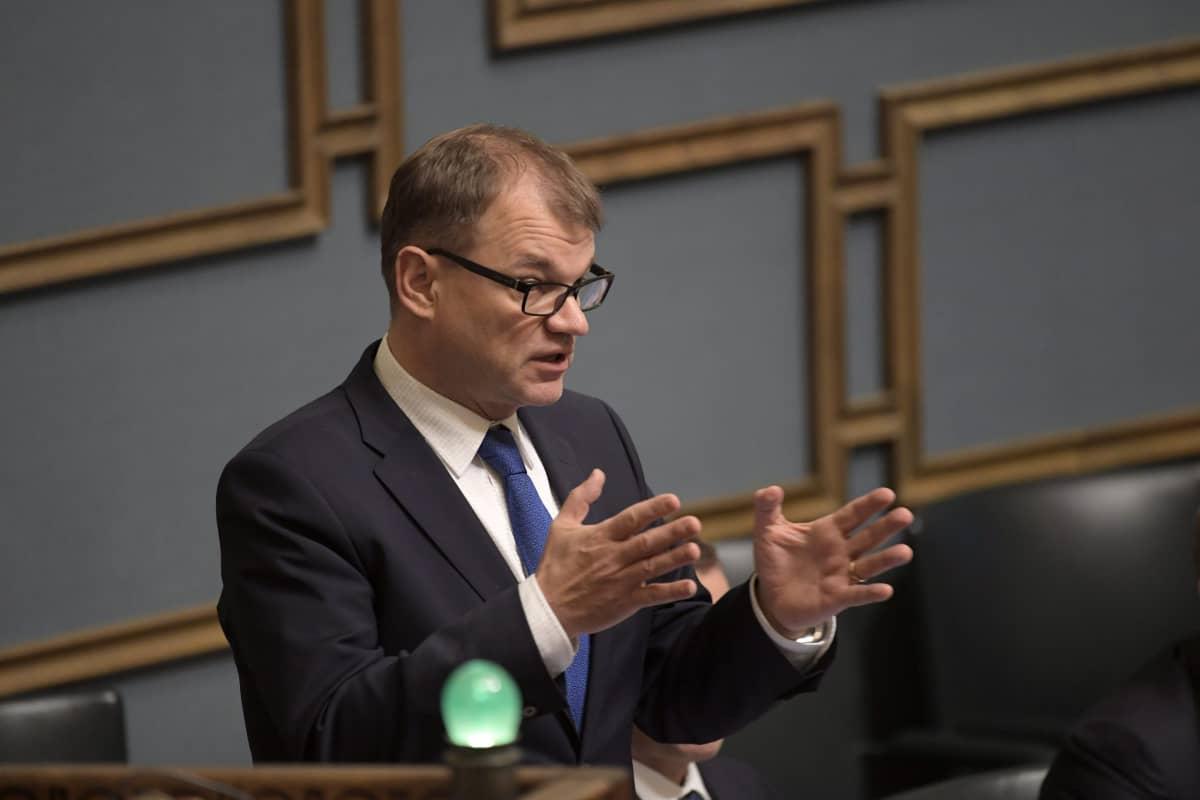 Pääministeri Juha Sipilä eduskunnan suullisella kyselytunnilla Helsingissä torstaina 16. marraskuuta 2017.