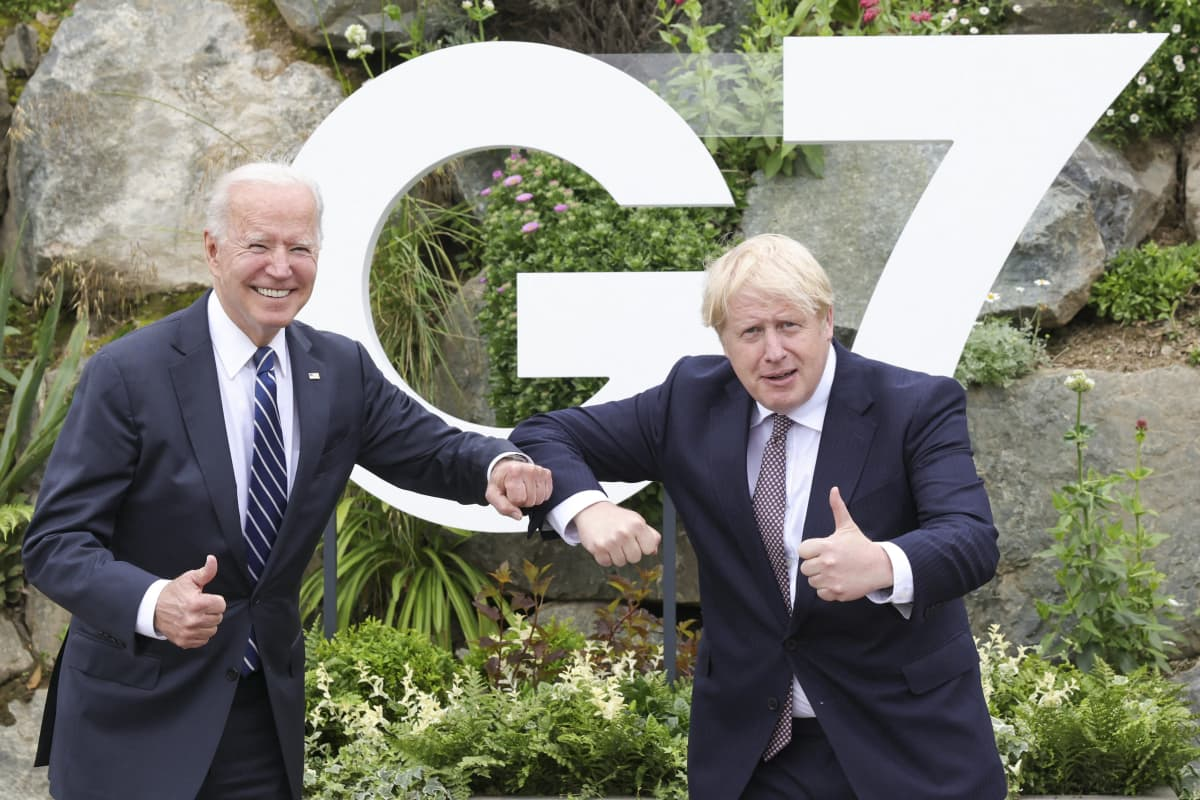 Boris Johnson ja Joe Biden.