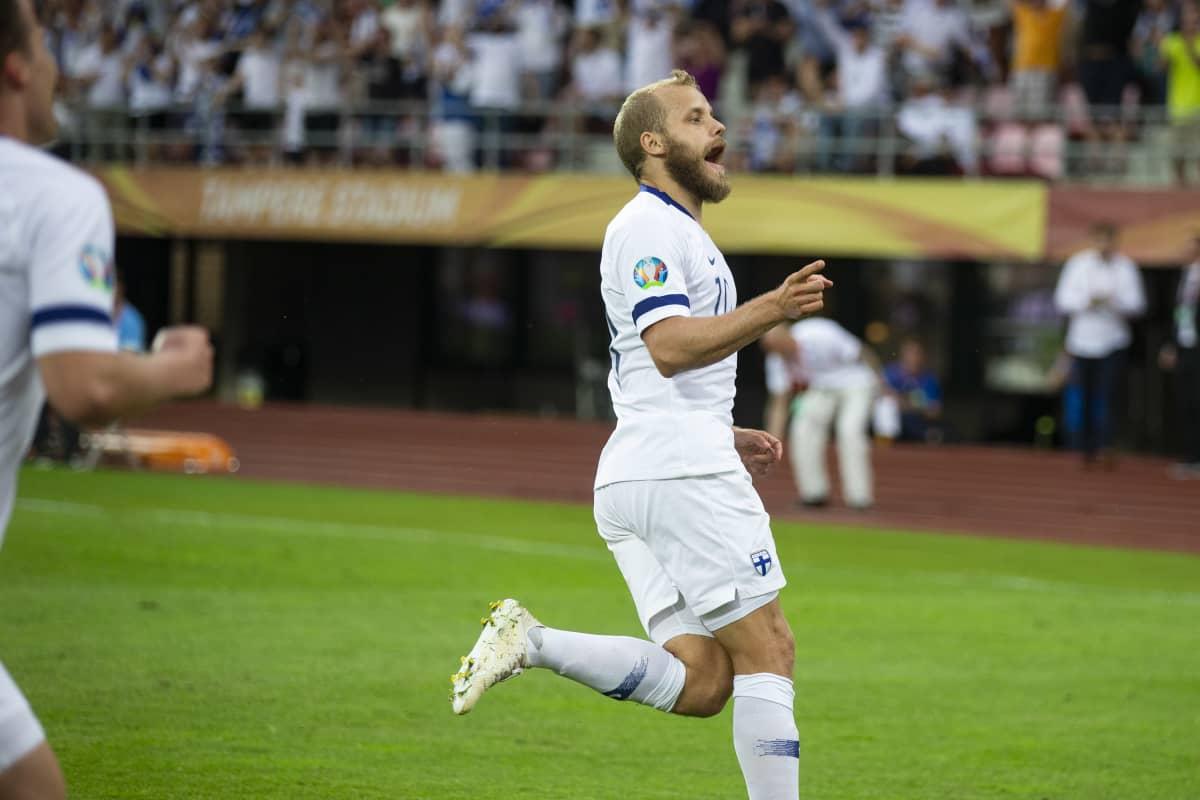 Teemu Pukki gjorde mål mot Bosnien-Hercegovina.