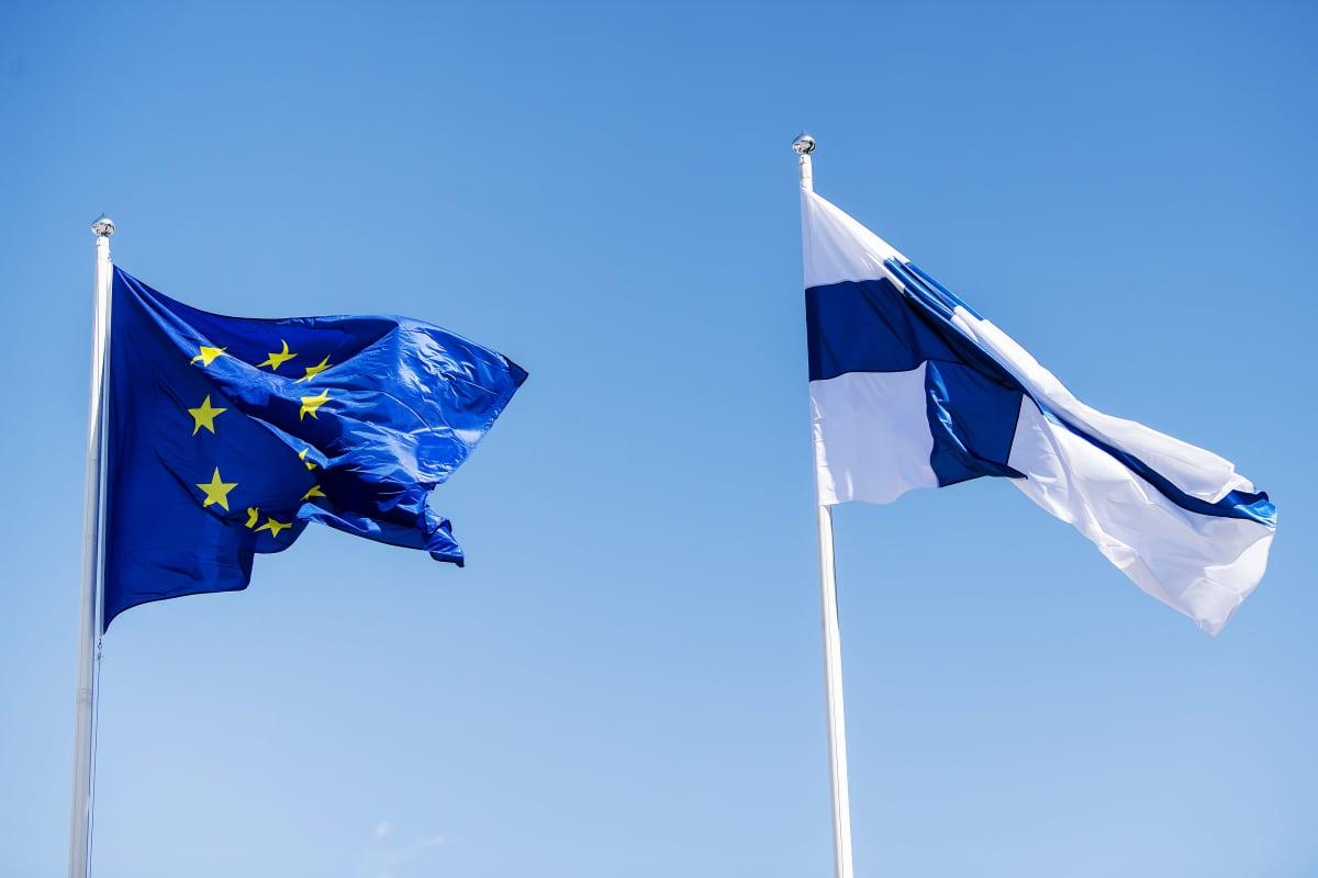 Kuvassa on Suomen ja Euroopan unionin liput.