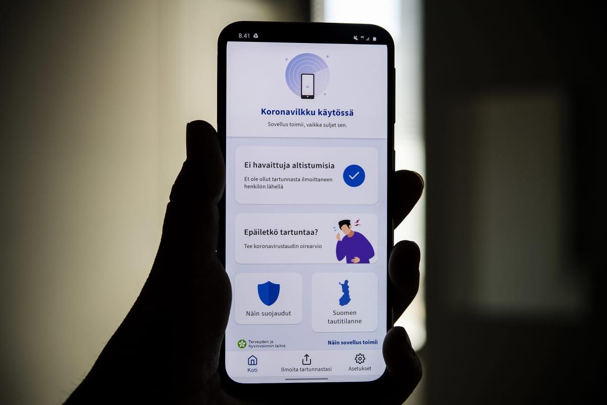 Kuvassa on Koronavilkku-sovellus älypuhelimen ruudulla syyskuussa 2020.