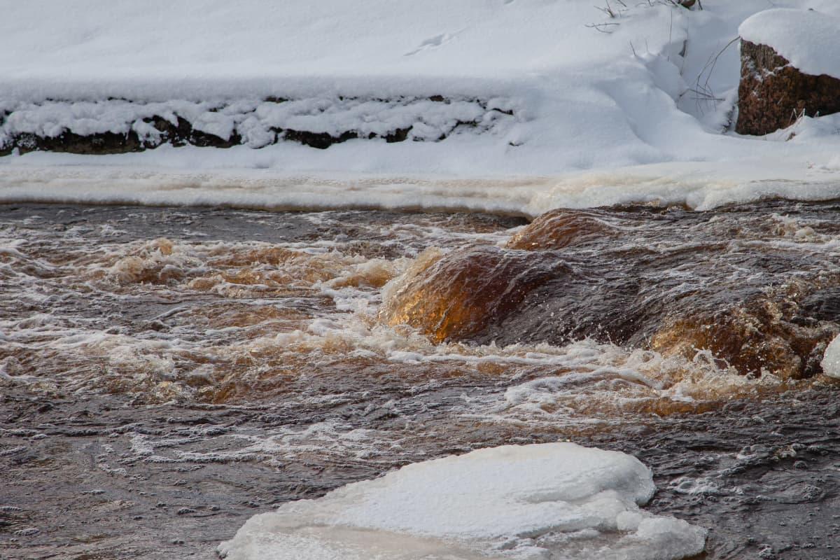 Virojoessa kuohuu ruskea vesi lähellä Virojoen kivisiltaa.