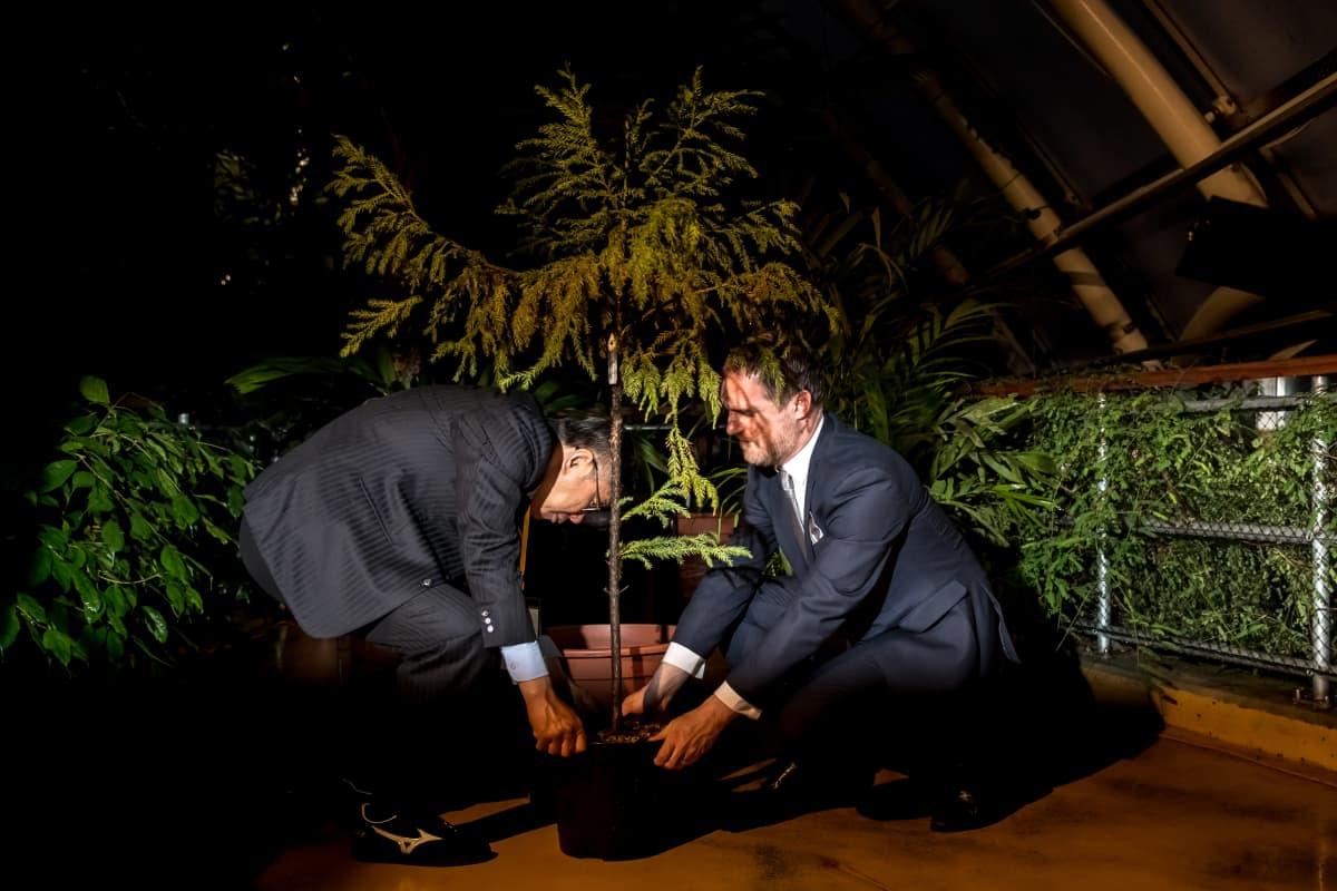 Prahan pormestari Zdeněk Hřib ja Taipein pormestari Ko Wen-je istuttivat puun Prahan kasvitieteellisessä puutarhassa. Hřib on solminut tiiviit suhteet Taiwaniin.
